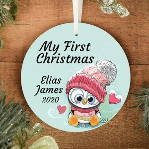 Personalized Baby's First Christmas Ornament Metal